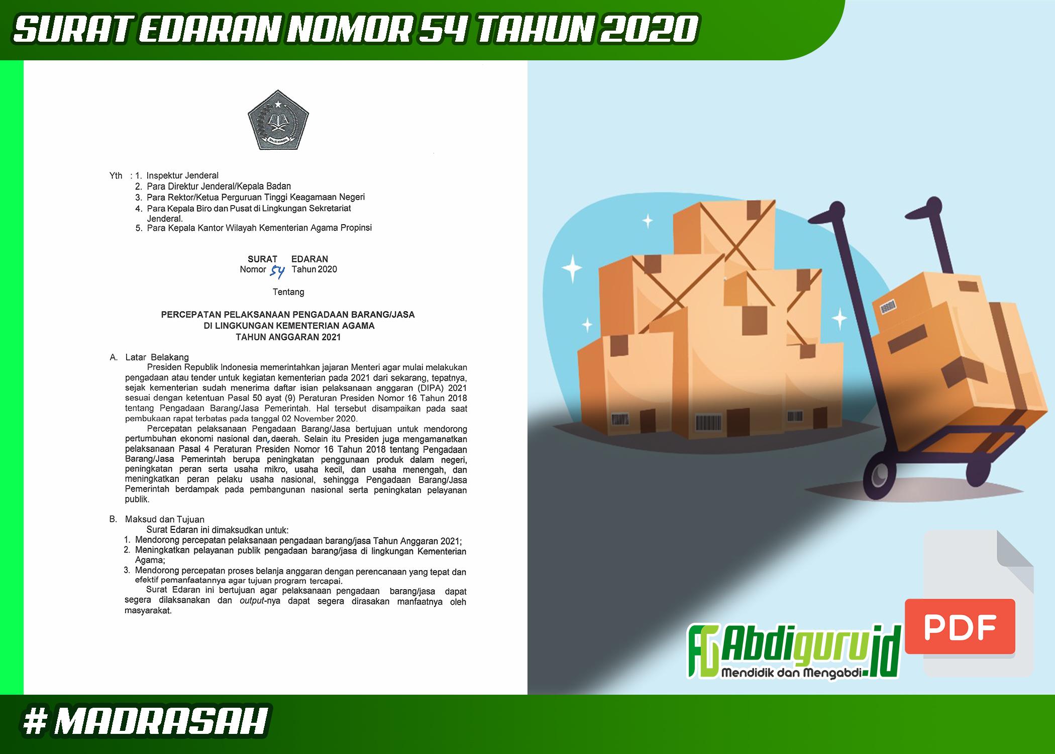 surat-edaran-nomor-54-tahun-2020-tentang-percepatan-pelaksanaan-barang-jasa-di-lingkungan-kementerian-agama-tahun-2021